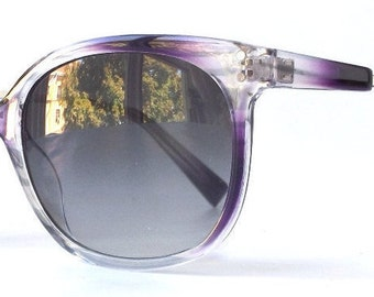 vintage 90s round purple sunglasses white stripes plastic frames grey gray sun glasses women men silver metal arms cat eye eyewear fresh nos