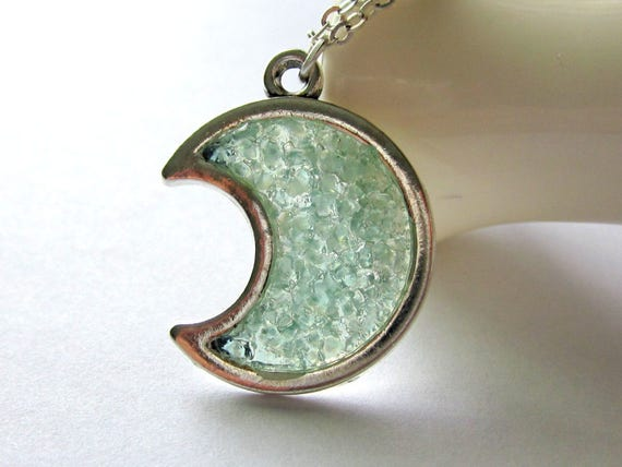 Aquamarine Moon Necklace, Crescent Moon Pendant, Custom Moon, Stained Glass, March Birthstone, Half Moon Jewelry