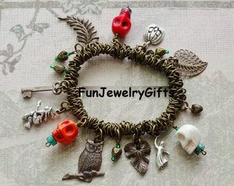 Skulls, 925 Sterling Silver Charms, Antique Brass Stretch Bracelet (One-of-kind)