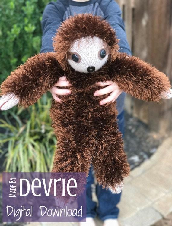 Digital Download Knit Sloth Sloth Plush Stuffed Sloth