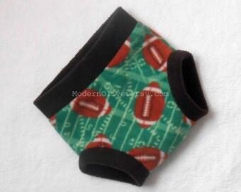 Large Football Fleece Diaper Cover/Soaker, Ready to Ship for Football Season, Green Brown