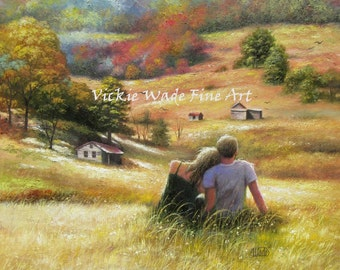 Country Lovers Art Print, loving couple, romantic paintings, anniversary, boy and girl sitting in wheat field, autumn, fall, Vickie Wade Art