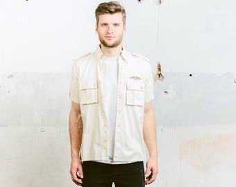 Vintage 70s Men's Safari Style Shirt . Beige Aviator Pilot Shirt Short Sleeve Button Down Shirt . size Medium