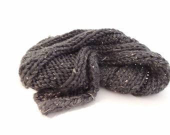 Knitted Scarf Handmade in Dark Grey Tweed