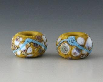 Rustic Sedona BHB - (2) Handmade Lampwork Beads - Green, Blue - Etched, Matte