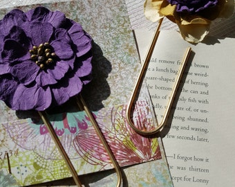 Floral Topped Jumbo Clip Bookmark, Set of 2