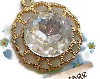 Aurora Borealis Vintage Filigree Pendant Rhinestone AB Crystal Findings Gold Plated Shabby chic Cottage Chic Gold Plasted N1307C