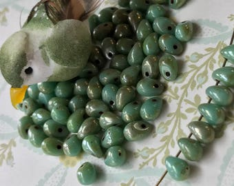 Renaissance beads,TearDrop Beads,Glass Drops, 4x6mm Drops,Turquoise w/Silverish Picasso #740C
