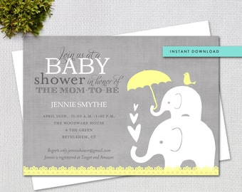 Editable Baby Shower Invitation, Yellow and Grey Elephant Gender Neutral, Instant Download, Printable Template 10553y