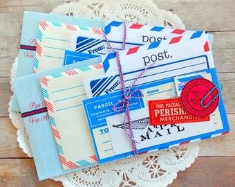 Mini Airmail Kit / 10 Pieces / Vintage Air Mail / Labels / Paper Ephemera