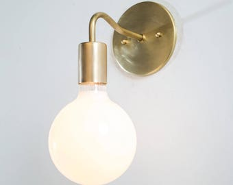 Wall Sconce Light - Brass Sconce Lamp - UL Listed Fixture - Raw Brass Minimalist Simple Sconce - Mid Century Modern - Industrial Lighting