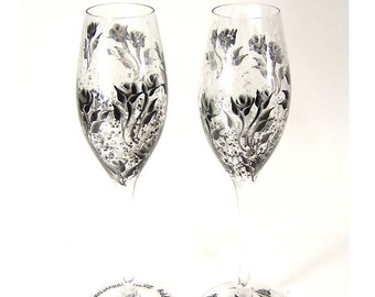 Hand-Painted CRYSTAL Champagne Sparkling Wine Glasses - Black and Silver Roses - Personalized 25th Wedding Anniversary Champagne Flutes