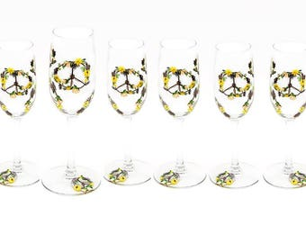Set of 6 Boho Wedding Peace Sign Champagne Glasses - Hand-Painted Wildflowers, Feathers, Roses - Personalized Wedding Party Favors