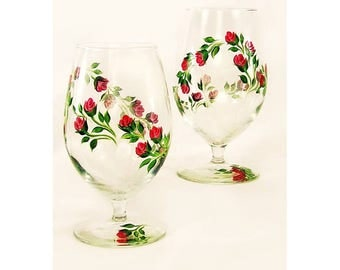Hand-Painted Iced Tea Glasses, Set of 4 - Cheery Red Roses, Green Leaves - Beverage Glass Set, Juice Glasses Water Glass