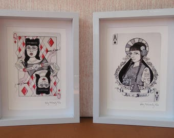 Giclee print set of 4 by Andy McCready - 'Wild Cards' - Limited edition, red, black, gambling. Prints by giltandenvy on Etsy.