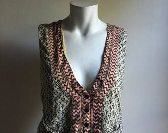 SALE Indian Thin Cotton Blend Vest • Bohemian Vest Top • Small to Medium