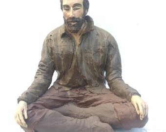 """Vipassana Meditation Sculpture, Contemporary Buddha Art, """"Things Are A Little Rough Right Now"""" Figure Art, Bearded Man Sitting"""