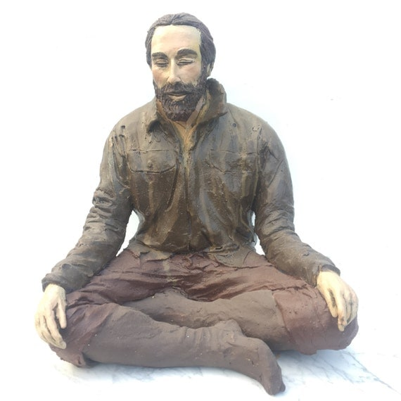 "Vipassana Meditation Sculpture, Contemporary Buddha Art, ""Things Are A Little Rough Right Now"" Figure Art, Bearded Man Sitting"