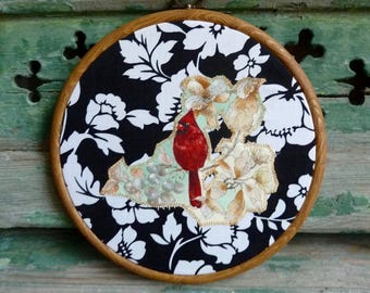 Red Cardinal in a Berry Tree Juxtaposed on Monochrome Floral Print Background Applique in Wooden Hoop, Applique Wall Decor, Ready to Hang