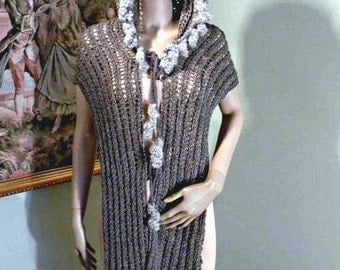 50% Sale - This Month Only - ELEGANT HOODED SCARF - Wearable Fiber Art, Extra Long, Beatiful Crochet Pattern, Unsurpassed Quality Yarns