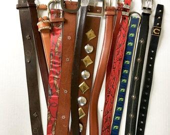 Lot of Vintage Belts, Leather Belt, Tooled leather, Dior, Brighton, Wide Leather belts, Skinny Leather belt