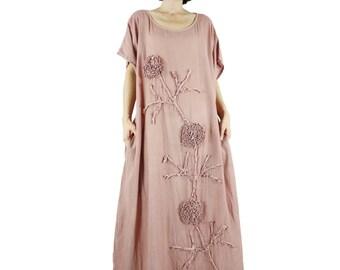 Bohemian Handmade Curved Hem Scoop Neck Dusty Salmon Color Light Cotton Kaftan Dress With Flaoral Applique Oversize Dress Sundress - SM705