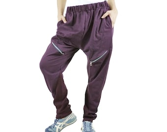 Unisex Funky Hip Hop Hipster In Plum Cotton Pants With Sideseam 2 Pockets and Elastic waist band
