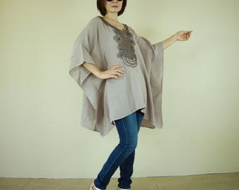 Oversize Sand Color Double Gauze Cotton Dolman Poncho Women Top Caftan Blouse With Dark Brown Hand Embroidered Detail