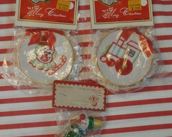 3 Vintage Christmas Ornaments, Kris Kringle And Rolco Clowns and Train