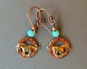 Reserved for Mary Copper and Brass Horse Earrings with Aqua Glass Accents on Copper Hooks Jewelry