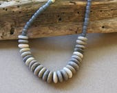 Shades of Gray Sea Pebble Necklace Small Round Natural Beach Stones w Matte Blue Grey Glass Seed Beads Ocean Beach Jewelry