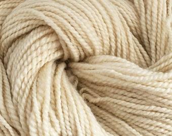 Handspun Bluefaced Leicester and Silk, Natural Undyed Yarn, British Wool Yarn, 2 ply Handspun Yarn UK