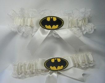 Batman wedding garters ivory lace garter handmade batman garter