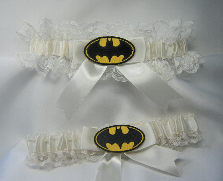 Batman Wedding Gift: Batman Wedding Garters Ivory Lace Garter Handmade Batman