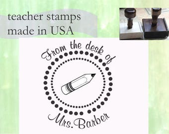Unique Teacher Book Stamp Personalized Teacher Self ink Custom Made Return Address Rubber Stamp great gift