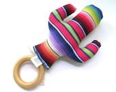 Cactus Teething Ring - Southwest Cactus Mexican Serape - Plush Baby Gift - Southwest Style - Boho - Wood Ring Teether  - Saguaro