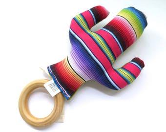 Mexican Cactus Teething Toy - Cactus Teething Ring - Plush Baby Toy - Southwest Style - Boho - Wood Ring Teething Toy  - Saguaro Succulents