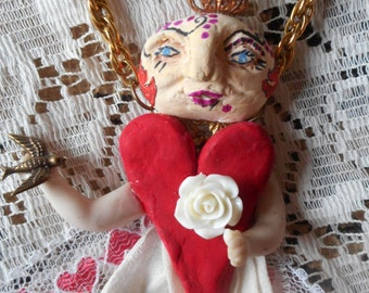 Wearable art hand made clay face and heart princess art doll pendant necklace with vintage lace shabby chic boho mixed media