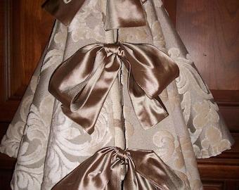"42"" Beautiful Taupe Damask Designer  Reversible Christmas Tree Skirt 2016 Collection"