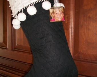 One (1) Amazing Sophsticated Black and White Beaded with Pom Pom Designer Christmas Stocking 2017 Collection