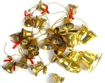 Gold Metal Bells, Assorted Destash, Lot 44 Wedding Decorations Favors, Mini