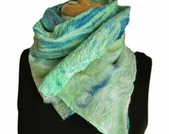 Green Wool Felted Scarf - Green and Blue Silk Scarves - Nuno Felt Ocean