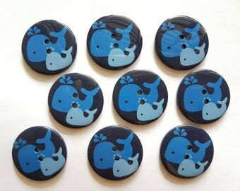 12 pcs Whales Graphic Printed Retro Buttons 30mm 2 Holes