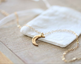 Crescent Moon Necklace in 14K Gold Filled  | Gold Minimalist Jewelry | Layering Necklace | Gift for Her | Rose Gold Necklace