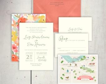 Wedding Invitations - Boho Chic - JPress Designs, envelope liner, classic, elegant, simple, modern, watercolor, calligraphy, coral envelope
