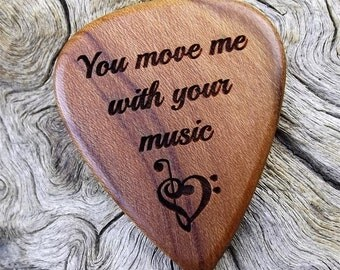 Wood Guitar Pick - Premium Quality - Handmade with California Apricot Wood - Laser Engraved Both Sides - Actual Pick Shown