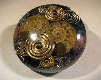 Large Ammonite Orgone Pendant - Lepidolite and Azurite