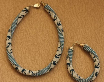Tubular Bead Crochet Necklace And Bracelet. Anchor Patterned