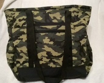 Green Camouflage Tote Bag, Diaper Bag, Carry-On Bag, Book Bag