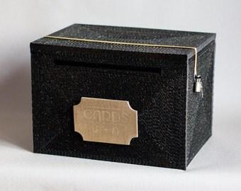 Gatsby wedding,wedding card box, Black Gold card box with lock, LARGE money box ,art deco wedding,vintage unique Keepsake box
